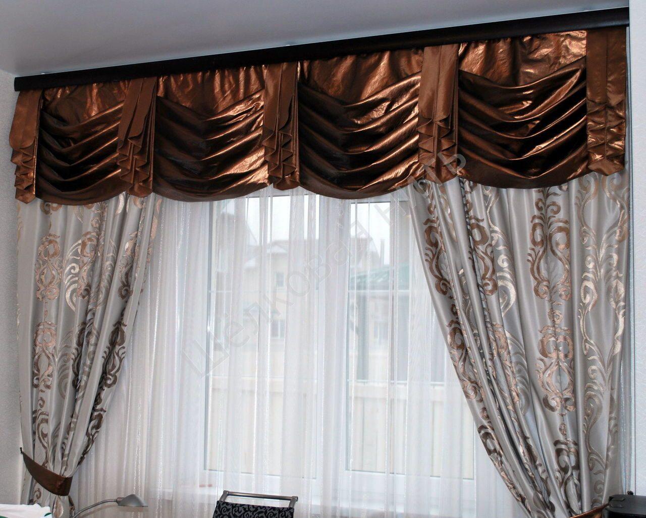 Дизайн нитяных штор с жестким ламбрекеном